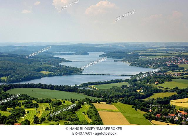 Aerial view over the Möhnesee lake, Sauerland, North Rhine-Westphalia, Germany