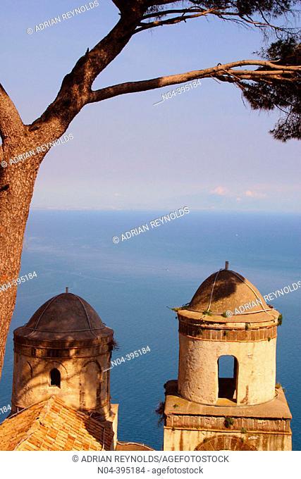 Villa Rufolo. Twin domes of the church of San Pantaleone. Ravello. Amalfi coast. Campania. Italy
