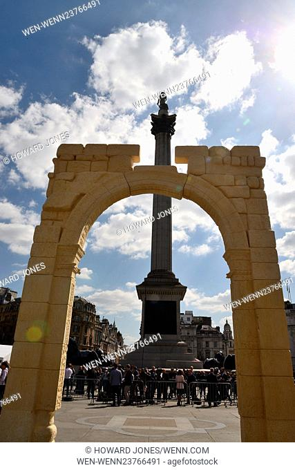 A 15 metre high replica of the Arch of Triumph is erected in Trafalgar Square to coincide with UNESCO's World Heritage Week