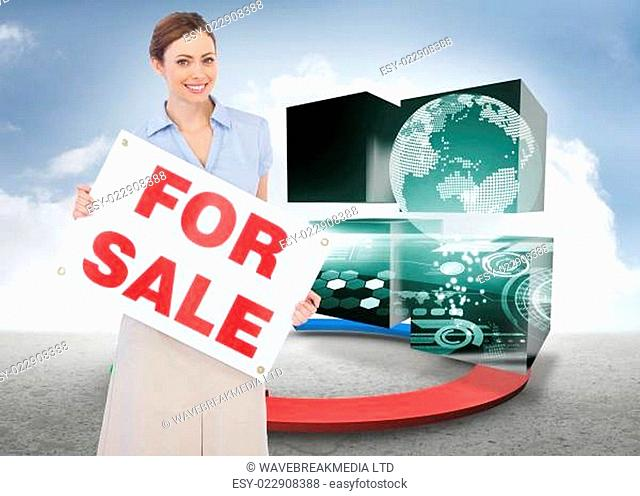 Composite image of estate agent posing with for sale sign