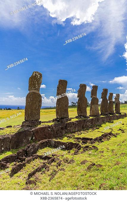 7 Moai at Ahu Akivi, the first restored altar on Easter Island, Isla de Pascua, Rapa Nui, Chile