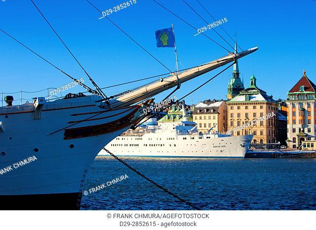 Sweden, Stockholm, Boats Moored alongside The Old Town