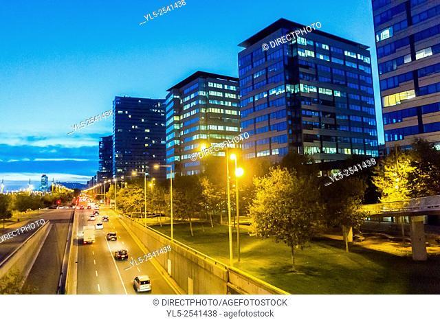 Barcelona, Spain, Street Scenes, Ring Road, Highway, Port Forum Neighborhood,