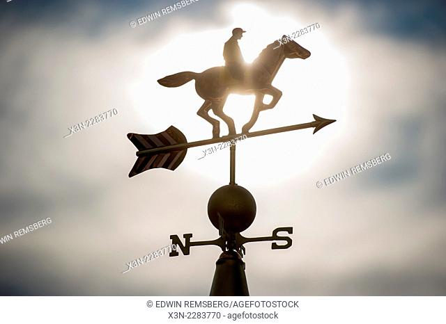 Weather vane of a jockey on a horse in Baltimore, Maryland, USA