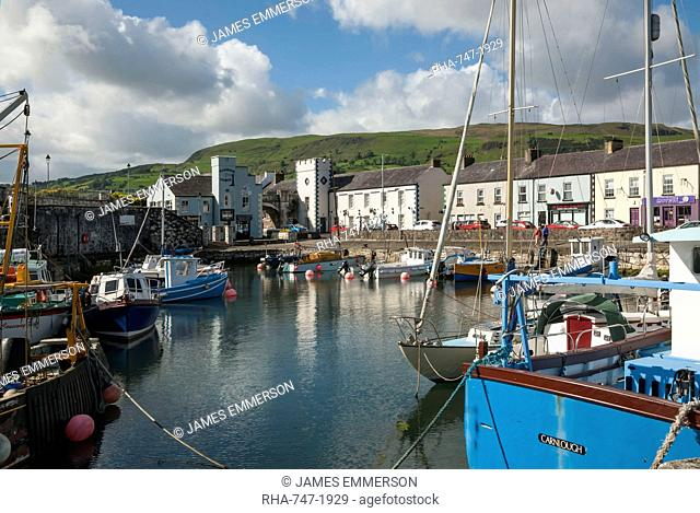 Boats in marina at Carnlough, County Antrim, Northern Ireland, United Kingdom, Europe