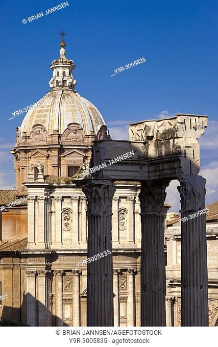Church of Santi Luca e Martina adjacent to the ruins of the Roman Forum, Rome Lazio Italy