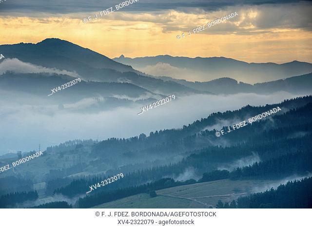 Biscay mountain range near of Mendieta area. Basque country, Spain