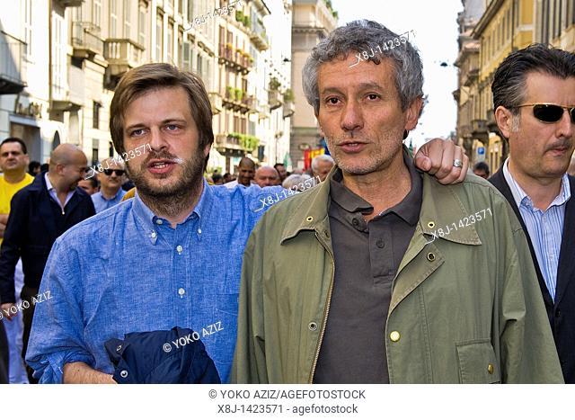 Pierfrancesco Majorino and Carlo Munguzzi, Primo maggio, May 1 event, May day, Milan 2011, Italy