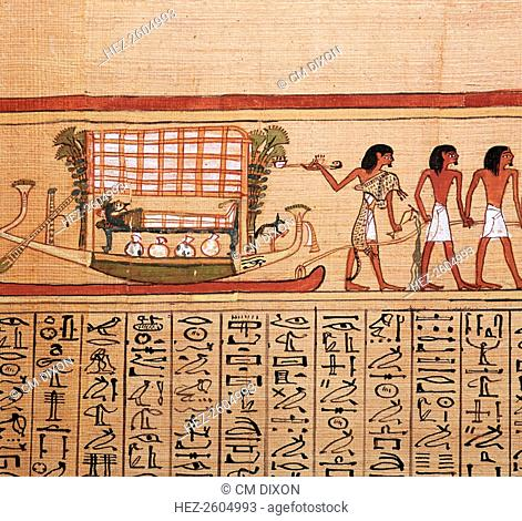 Egyptian papyrus depicting taking the mummy to the necropolis, from the 'Book of the Dead' of Hunefer, from the British Museum's collection, 13th century BC
