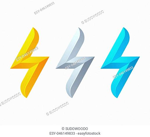 Lightning bolt symbol in yellow, metallic silver and blue. Vector logo set isolated on white