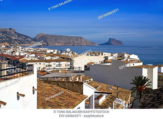 Altea white village skyline in Alicante at Mediterranean Spain