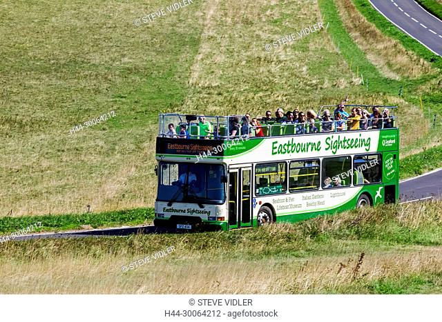 England, East Sussex, Eastbourne, South Downs National Park, Open Top Sightseeing Bus