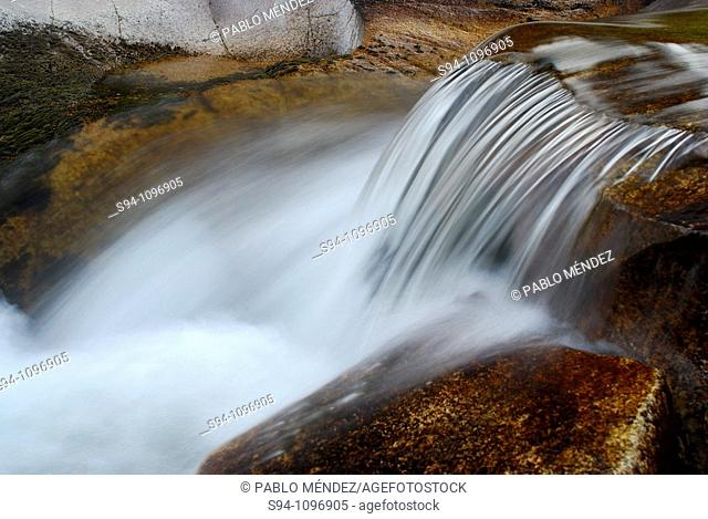 Waterfall in La Pedriza of the Manzanares river, Madrid, Spain