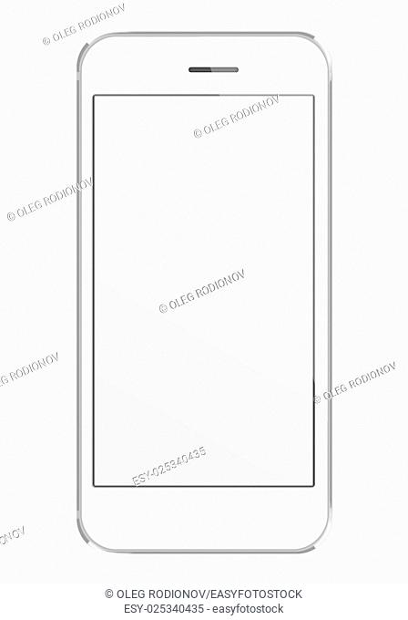 Realistic mobile phone with blank screen isolated on white background. Highly detailed illustration