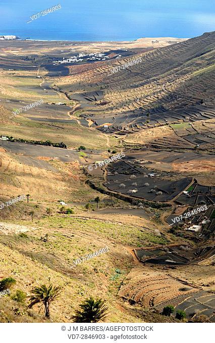 Temisa Valley and Arrieta in the grounback. Haria, Lanzarote Island, Las Palmas, Canary Islands, Spain