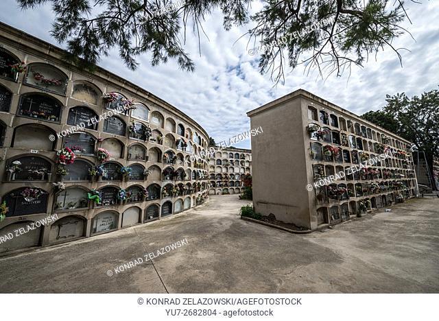 columbarium wall at Poblenou Cemetery - Cementiri de l'Est (East cemetery) in Barcelona, Spain
