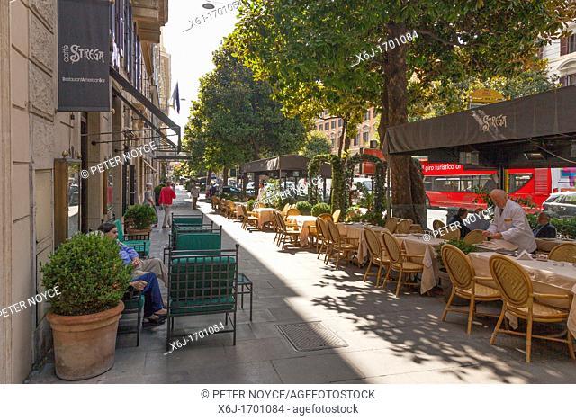pavement cafes on the Via Vittorio Veneto in Rome