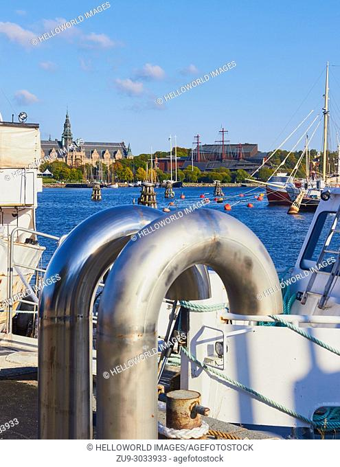 Ventilation pipes on Norrmalm waterfront with the island of Djurgarden in the background, Stockholm, Sweden, Scandinavia