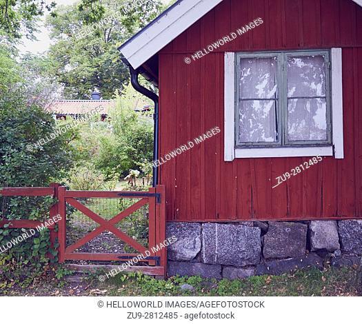 Red wooden cabin, Sweden, Scandinavia