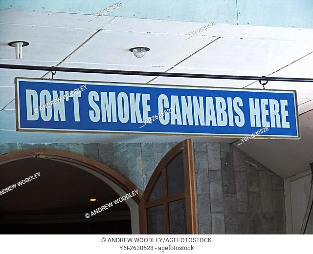 Dont smoke cannabis warning sign in Anjuna hotel restaurant Goa India