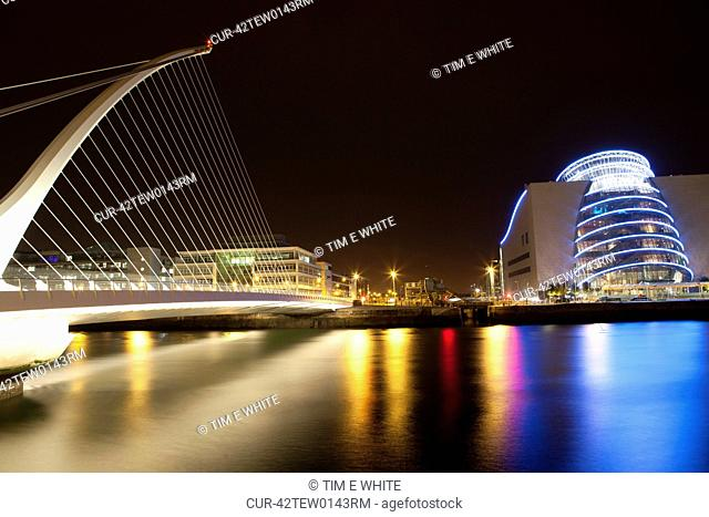 Riverside architecture at night, Dublin, Ireland