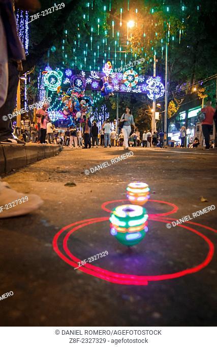 "Christmas lights in Medellín, on the """"La Playa"""" avenue"