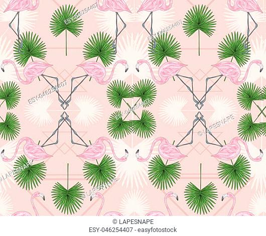 Cute hipster seamless pattern with flamingos and palm. Vector background with birds