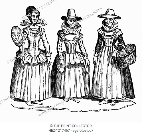Female costume, 17th century, (1910). Gentlewoman, burgher's wife, and countrywoman, a 19th-century copy from Speed's Map of England