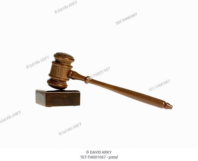 Studio shot of wooden court gavel