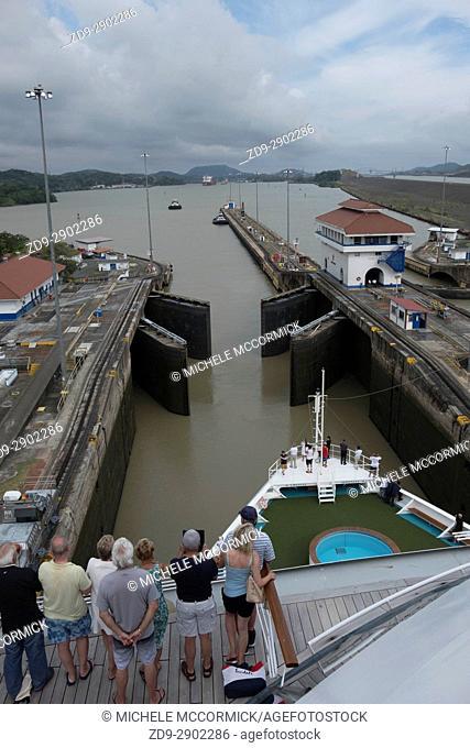 Ships pass through three sets of locks at the Panama Canal