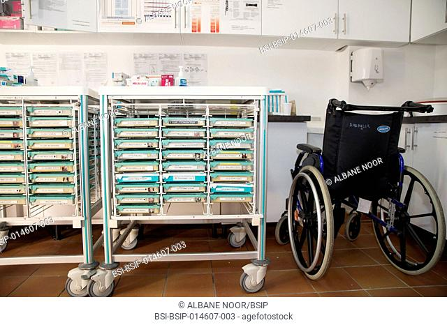Reportage in the Amaryllis Nursing Home in Nice, France. A medication trolley