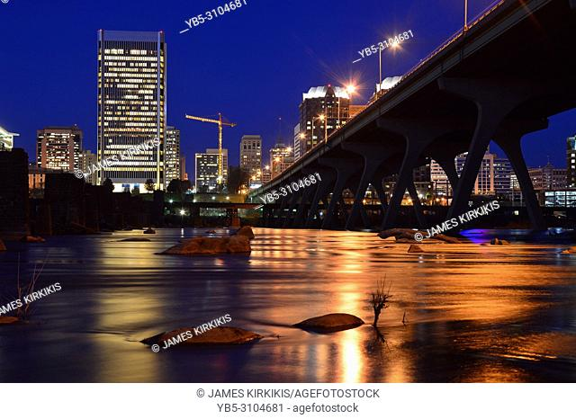The lights of Richmond Virginia reflect in the James River
