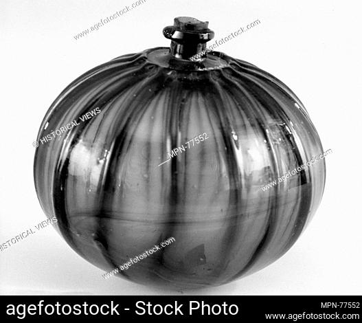 Flask. Date: probably late 17th century; Culture: French, Nevers; Medium: Glass; Dimensions: 4 1/2 x 4 3/4 in. (11.4 x 12