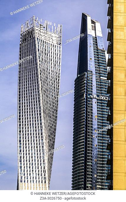 The Cayan Tower and the Damac Heights Tower at Dubai Marina, Dubai, UAE