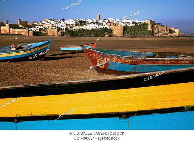Low water at the Boureggreg river and back the Oudayas. Rabat. Morocco