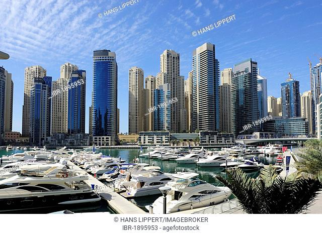 Dubai Marina Yacht Club, skyline, Jumeirah, Dubai, United Arab Emirates, Middle East, Asia