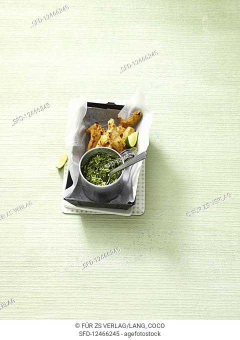 Tandoori chicken with coconut chutney