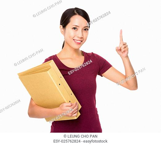 Woman hold with folder and finger point up