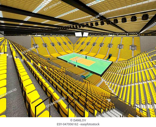 3D render of beautiful sports arena for volleyball with floodlights and yellow seats and VIP boxes for ten thousand people