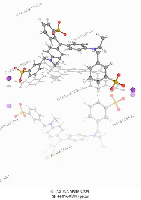 Brilliant Blue FCF. Molecular model of the synthetic dye Brilliant Blue FCF (C37.H34.N2.Na2.O9.S3). This is a colourant for foods and other substances