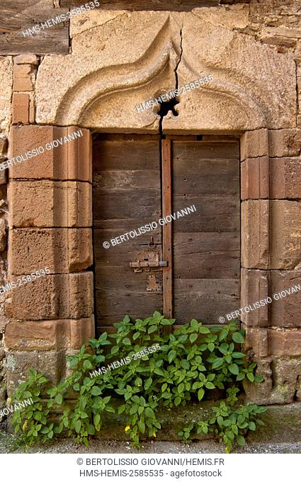 France, Tarn, Monesties, labeled Les Plus Beaux Villages de France (The most beautiful villages of France), and old gothic door lock rue Jean jaures