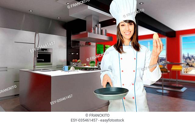 Young woman in chef's attire with an egg and a frying pan