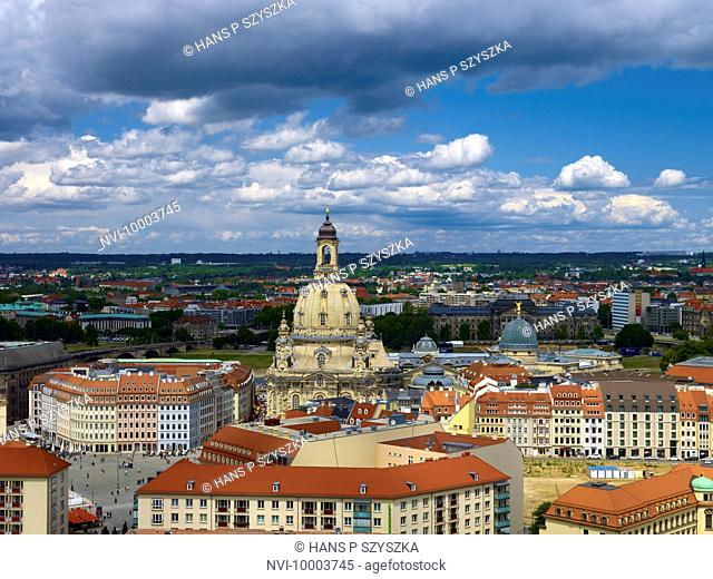 View of Dresden with Frauenkirche and Neumarkt Square, Saxony, Germany