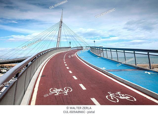 Pedestrian and cycle bridge in Pescara, Abruzzo, Italy