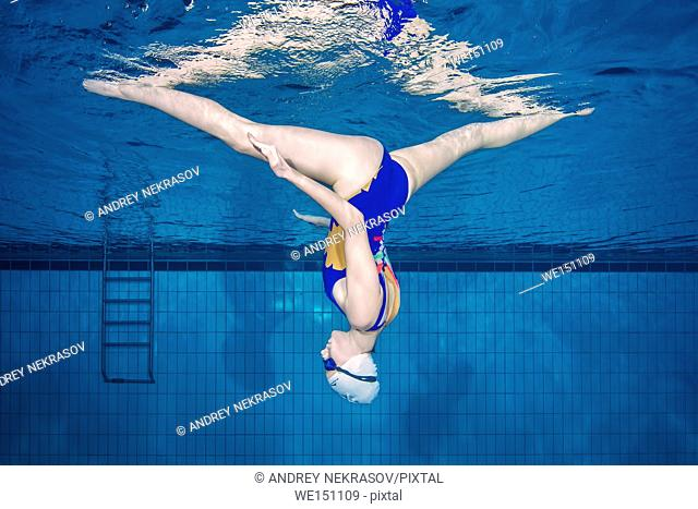 Underwater view of Synchronized Swimming, Nikolaev, Ukraine, Eastern Europe