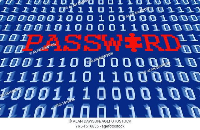 Password in red on binary background