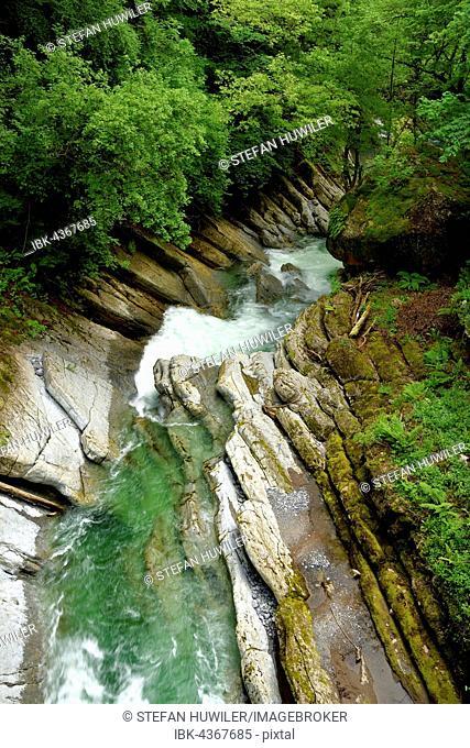 Eroded bands of limestone, rocks, River Breggia, Parco delle Gole della Breggia, Mendrisio, Canton of Ticino, Switzerland