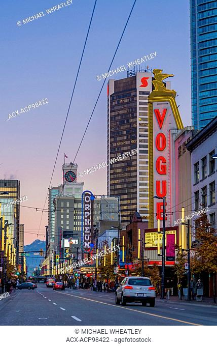 Vogue and Orpheum Theatres, Granville Street mall, Vancouver, British Columbia, Canada