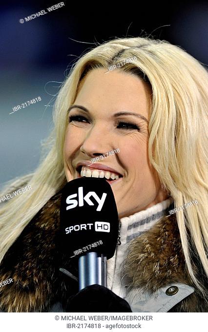 Sky Sports presenter Jessica Kastrop, Wirsol Rhein-Neckar-Arena, Sinsheim-Hoffenheim, Baden-Wuerttemberg, Germany, Europe