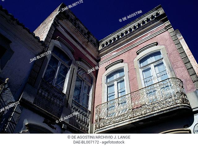 Building in the city of Loule, Algarve, Portugal. Detail